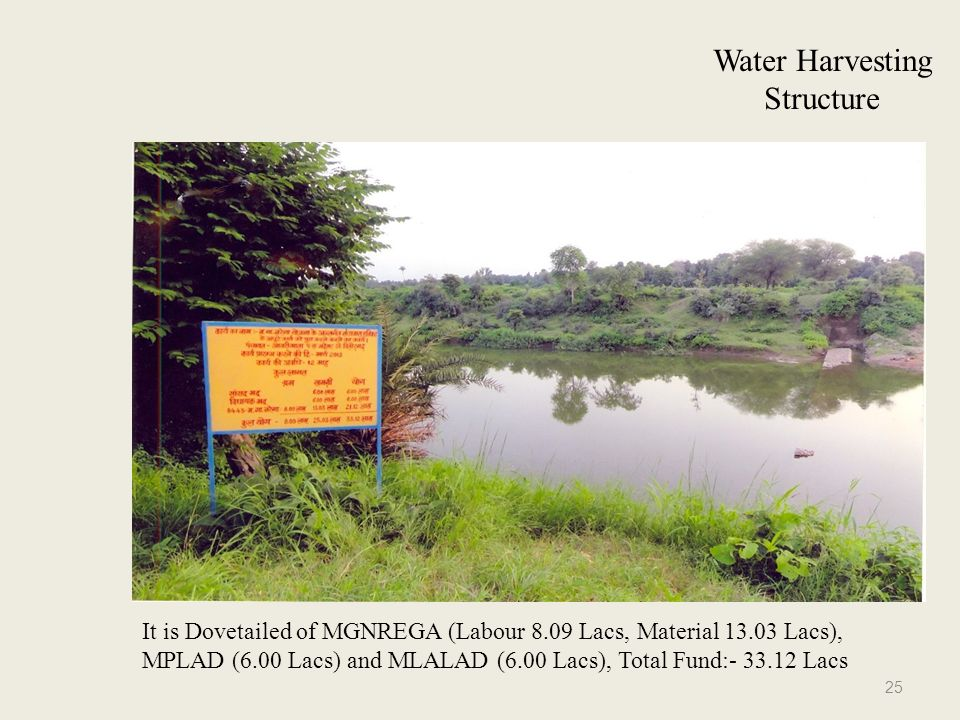 Water Harvesting Structure It is Dovetailed of MGNREGA (Labour 8.09 Lacs, Material 13.03 Lacs), MPLAD (6.00 Lacs) and MLALAD (6.00 Lacs), Total Fund:- 33.12 Lacs 25