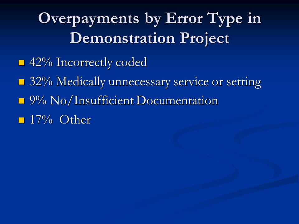 Overpayments by Error Type in Demonstration Project 42% Incorrectly coded 42% Incorrectly coded 32% Medically unnecessary service or setting 32% Medically unnecessary service or setting 9% No/Insufficient Documentation 9% No/Insufficient Documentation 17% Other 17% Other