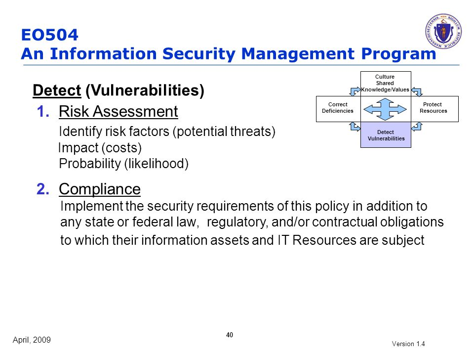 April, 2009 Version 1.4 40 Detect (Vulnerabilities) 1. Risk Assessment Identify risk factors (potential threats) Impact (costs) Probability (likelihoo