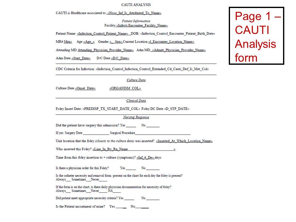 Page 1 – CAUTI Analysis form
