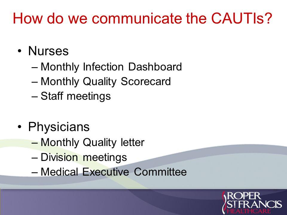 How do we communicate the CAUTIs.