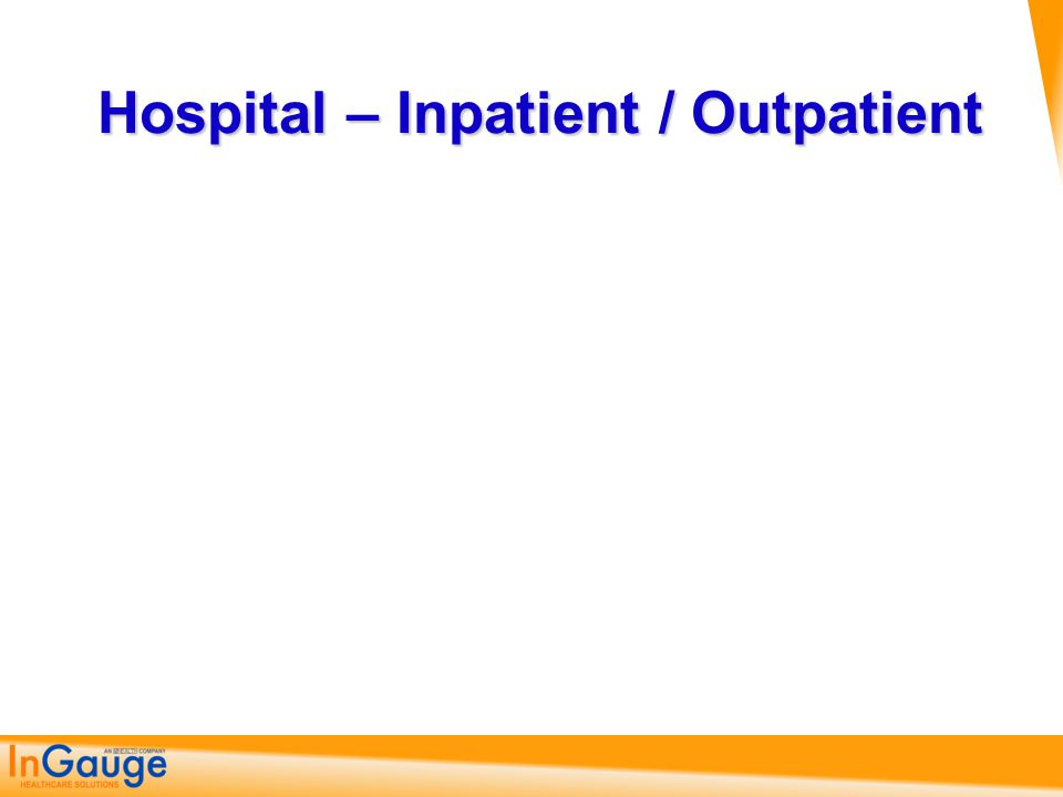 Hospital – Inpatient / Outpatient
