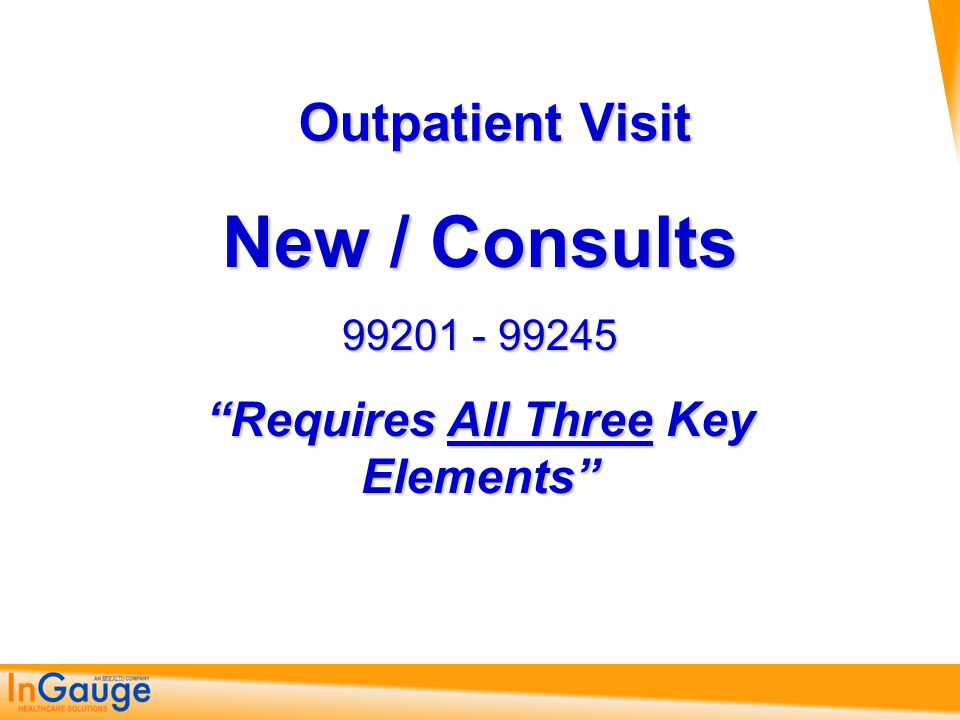 New/Consultation Patient Visits (3 out of 3) CodeMinutesHistoryExaminationDecision-Making 9920110 Problem Focused  CC  1HPI Problem Focused 1995 –(1) 1997 – (1 check) Straightforward  Diagnosis – Minimal  Data – Minimal or None  Risk – Minimal 9924115 9925120 9920220 Exp.