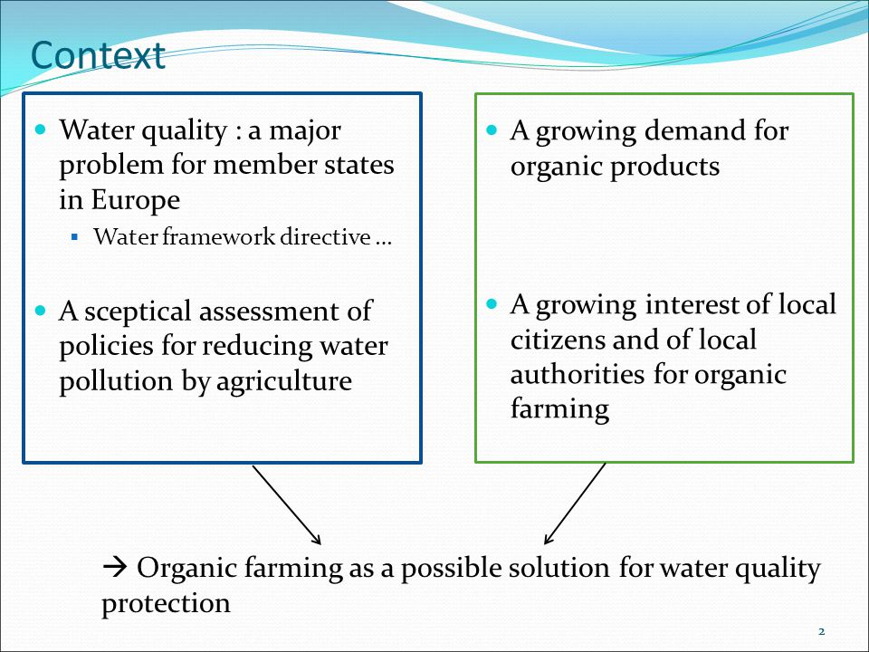 2 Context Water quality : a major problem for member states in Europe  Water framework directive … A sceptical assessment of policies for reducing water pollution by agriculture 2  Organic farming as a possible solution for water quality protection A growing demand for organic products A growing interest of local citizens and of local authorities for organic farming