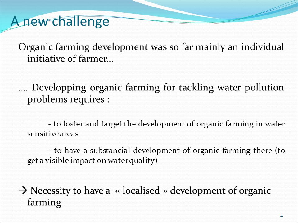 5 Objectives Getting an overview of existing projects aiming at developing organic farming to protect water quality  Project leaders  Stakeholder involved  Actions carried out  Policy tools implemented Infering recommandations for public policies Inventory of the projects in France Case study approach Interviews of policy makers and local stakeholders involved in the projects Methodology