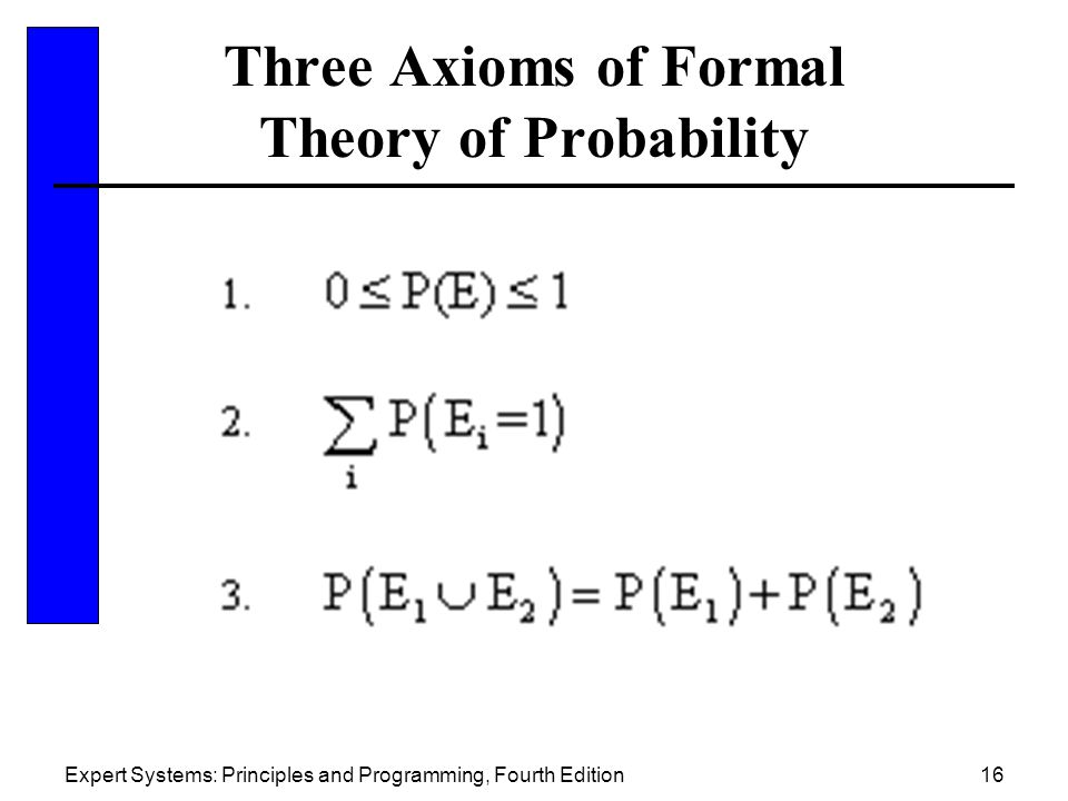 Expert Systems: Principles and Programming, Fourth Edition16 Three Axioms of Formal Theory of Probability