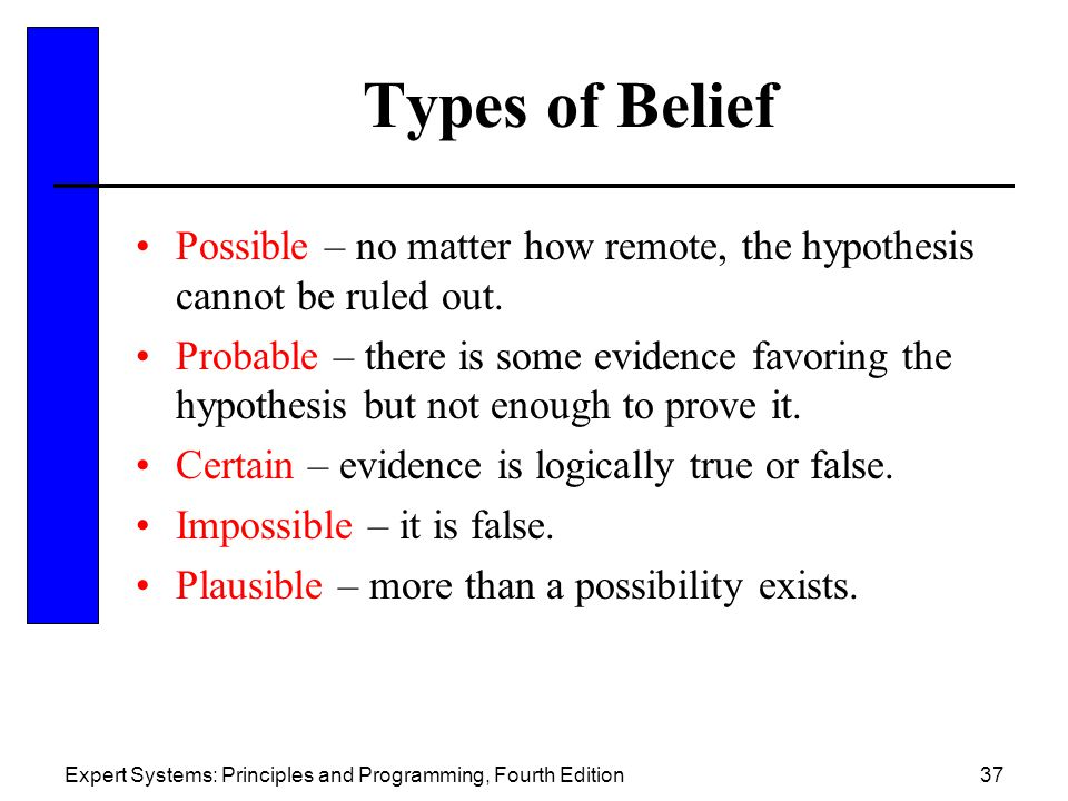 Expert Systems: Principles and Programming, Fourth Edition37 Types of Belief Possible – no matter how remote, the hypothesis cannot be ruled out.