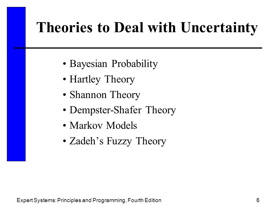 Expert Systems: Principles and Programming, Fourth Edition6 Theories to Deal with Uncertainty Bayesian Probability Hartley Theory Shannon Theory Dempster-Shafer Theory Markov Models Zadeh's Fuzzy Theory