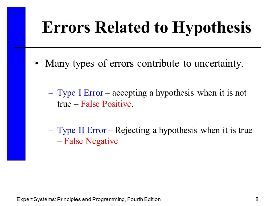 Expert Systems: Principles and Programming, Fourth Edition8 Errors Related to Hypothesis Many types of errors contribute to uncertainty.
