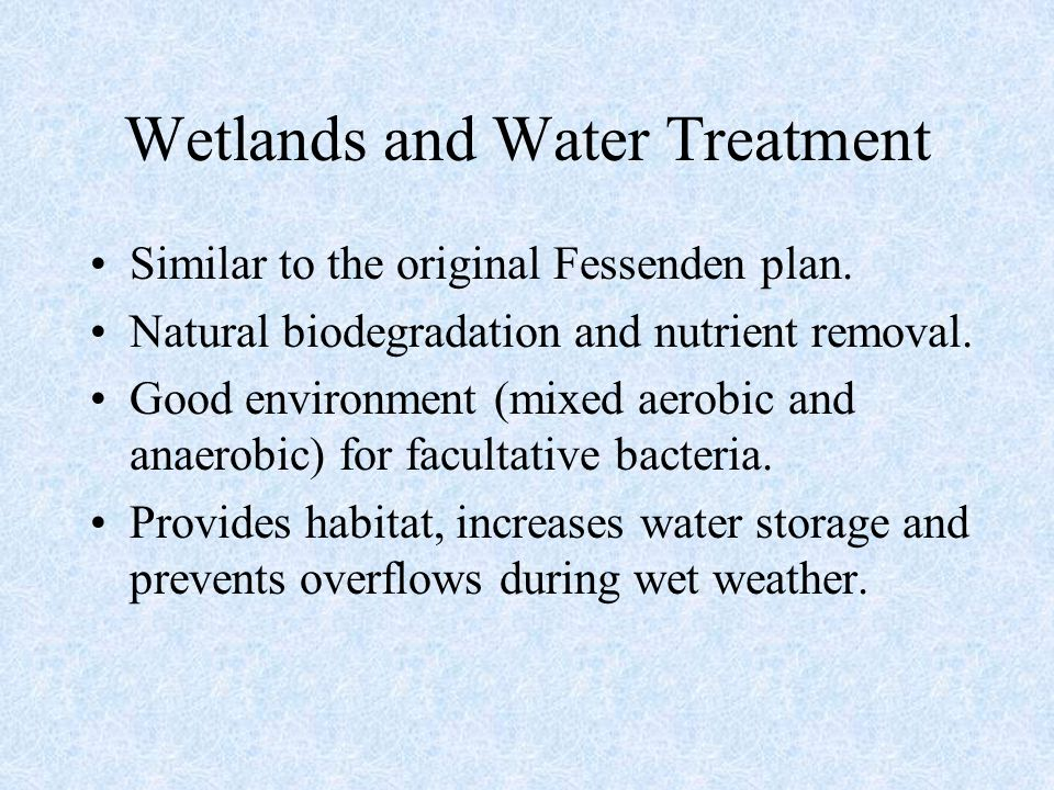 Wetlands and Water Treatment Similar to the original Fessenden plan. Natural biodegradation and nutrient removal. Good environment (mixed aerobic and