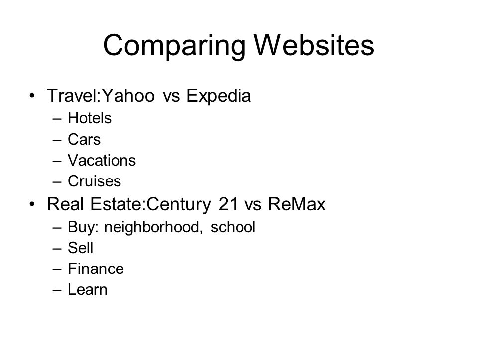 Comparing Websites Travel:Yahoo vs Expedia –Hotels –Cars –Vacations –Cruises Real Estate:Century 21 vs ReMax –Buy: neighborhood, school –Sell –Finance –Learn