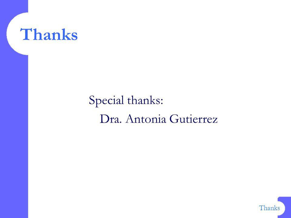 Thanks Special thanks: Dra. Antonia Gutierrez