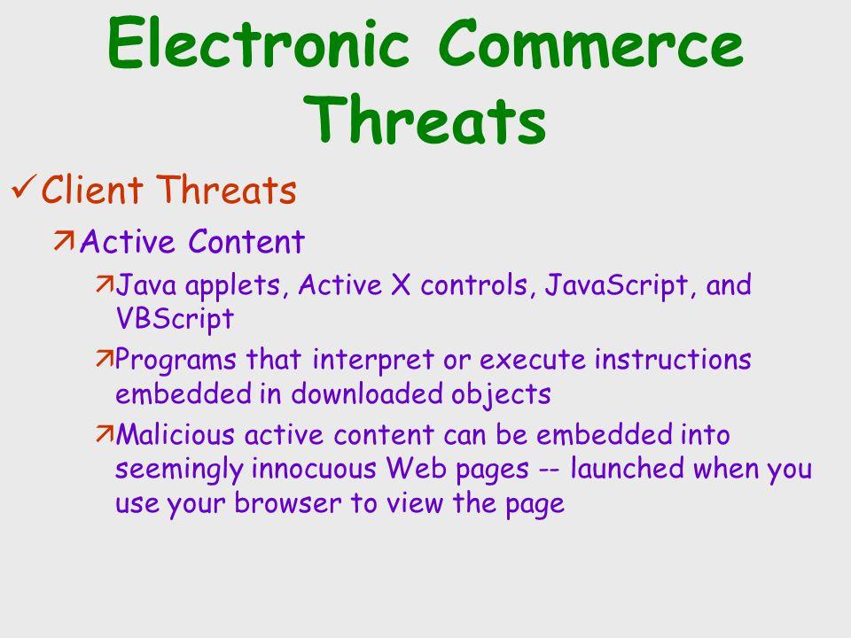 Electronic Commerce Threats Client Threats äActive Content äJava applets, Active X controls, JavaScript, and VBScript äPrograms that interpret or exec