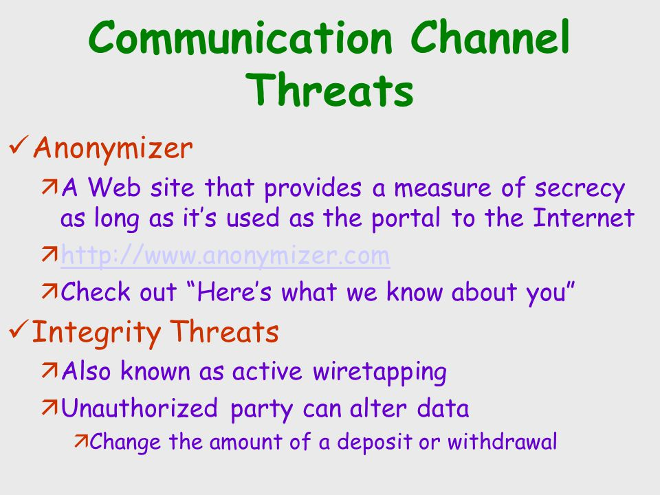 Communication Channel Threats Anonymizer äA Web site that provides a measure of secrecy as long as it's used as the portal to the Internet ähttp://www