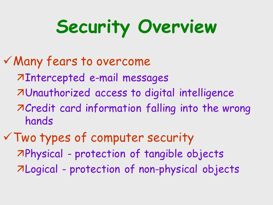 Security Overview Many fears to overcome äIntercepted e-mail messages äUnauthorized access to digital intelligence äCredit card information falling in