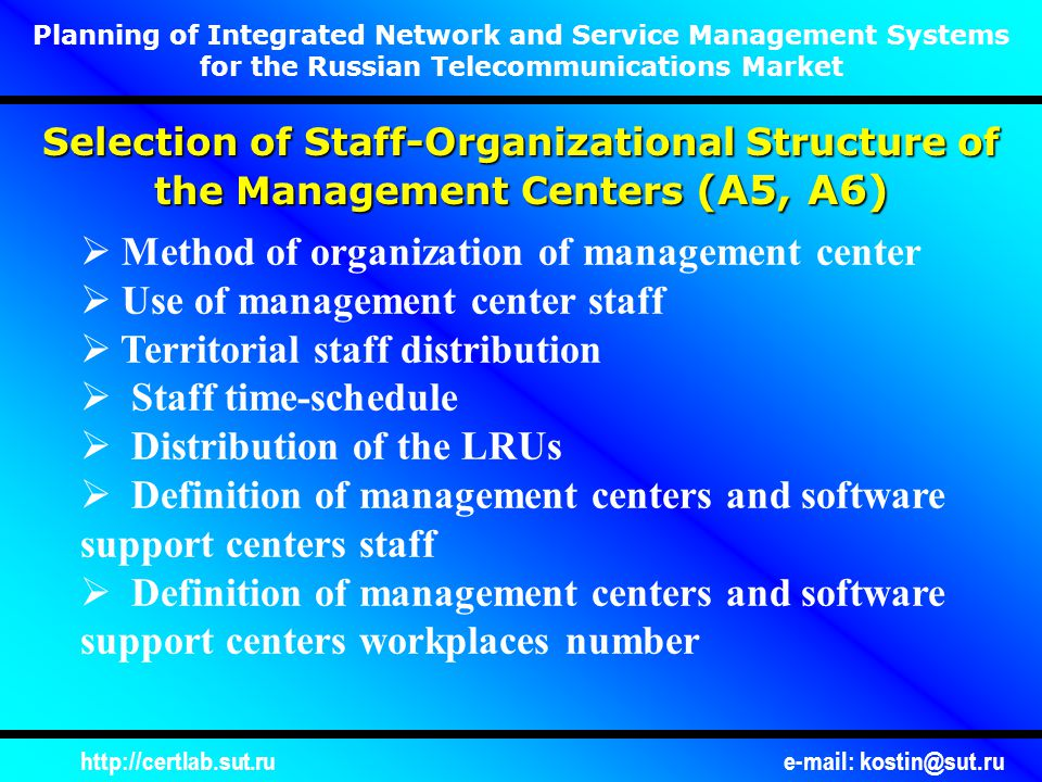 http://certlab.sut.rue-mail: kostin@sut.ru Planning of Integrated Network and Service Management Systems for the Russian Telecommunications Market Selection of Staff-Organizational Structure of the Management Centers (А5, А6)  Method of organization of management center  Use of management center staff  Territorial staff distribution  Staff time-schedule  Distribution of the LRUs  Definition of management centers and software support centers staff  Definition of management centers and software support centers workplaces number