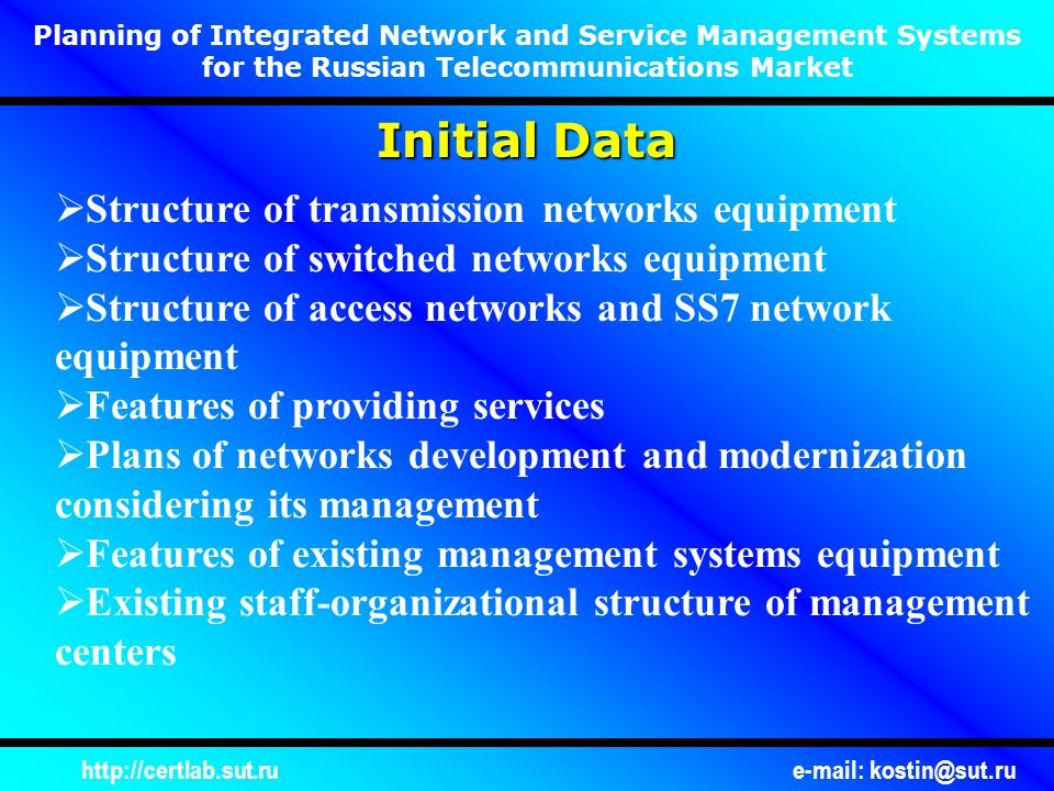 http://certlab.sut.rue-mail: kostin@sut.ru Planning of Integrated Network and Service Management Systems for the Russian Telecommunications Market Example of NEML and NML Management Systems Determination EMS for A-type DTE EMS for B-type DTE NMS EMS for C-type DTE EMS for D-type DTE EMS for E-type DTE...