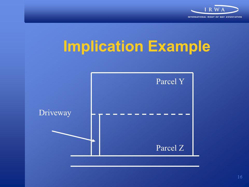 16 Implication Example Parcel Z Parcel Y Driveway