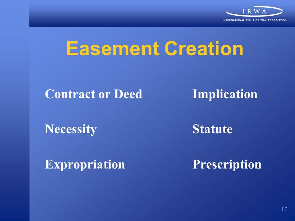 17 Easement Creation Contract or DeedImplication NecessityStatute ExpropriationPrescription