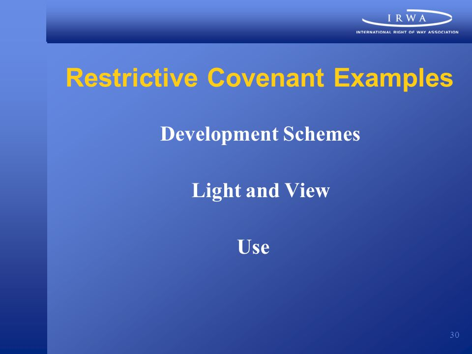 30 Restrictive Covenant Examples Development Schemes Light and View Use