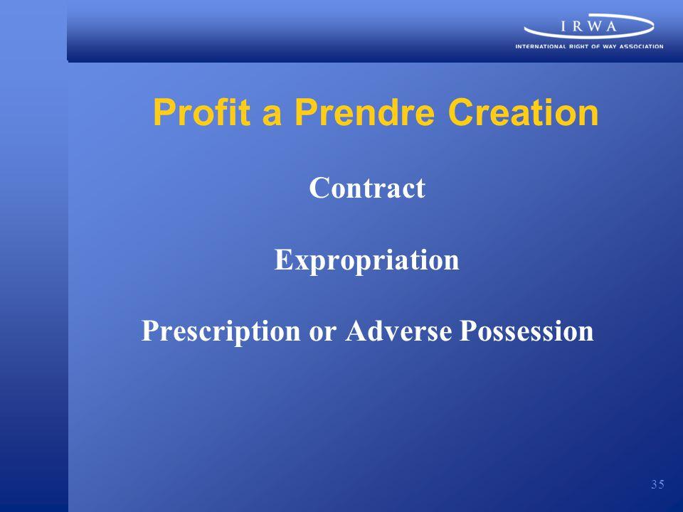 35 Profit a Prendre Creation Contract Expropriation Prescription or Adverse Possession