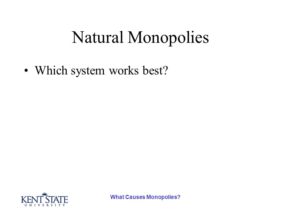 What Causes Monopolies? Natural Monopolies Which system works best?