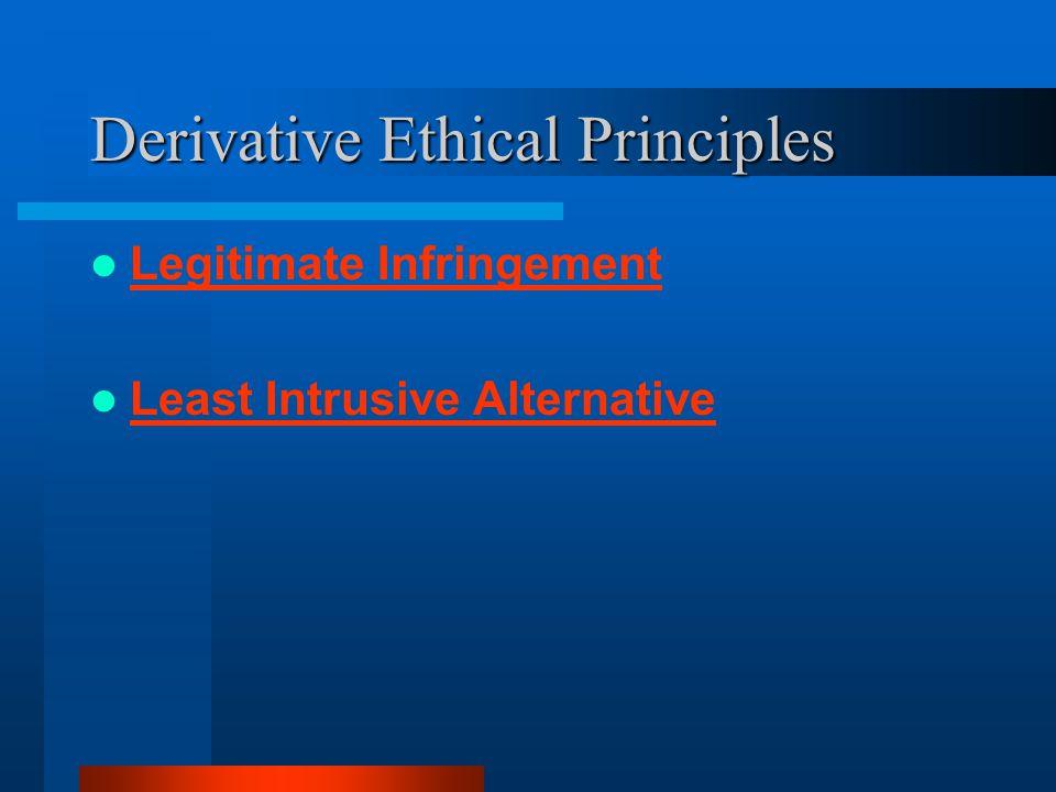 Derivative Ethical Principles Legitimate Infringement Least Intrusive Alternative