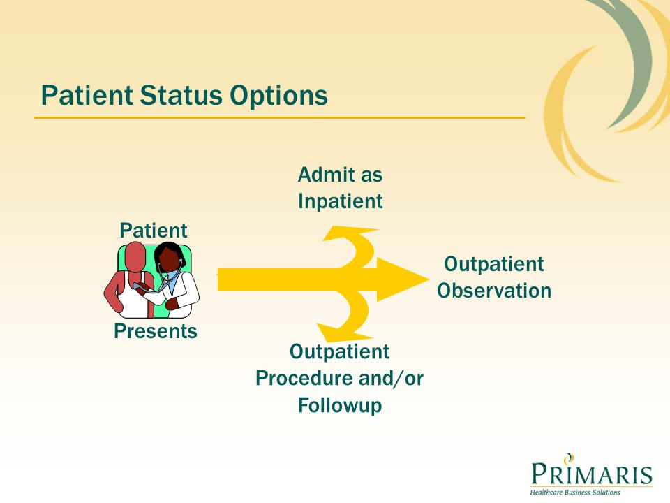 Patient Status Options Admit as Inpatient Outpatient Observation Outpatient Procedure and/or Followup Presents Patient