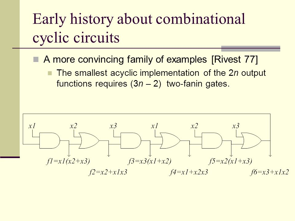 Early history about combinational cyclic circuits A more convincing family of examples [Rivest 77] The smallest acyclic implementation of the 2n output functions requires (3n – 2) two-fanin gates.