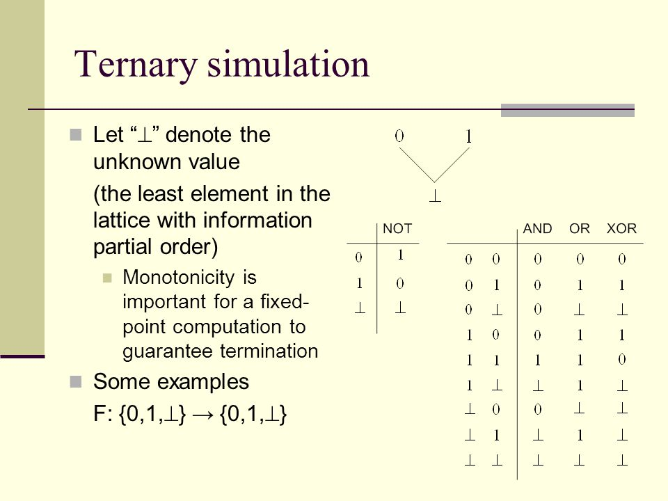 Ternary simulation Let  denote the unknown value (the least element in the lattice with information partial order) Monotonicity is important for a fixed- point computation to guarantee termination Some examples F: {0,1,  } → {0,1,  }