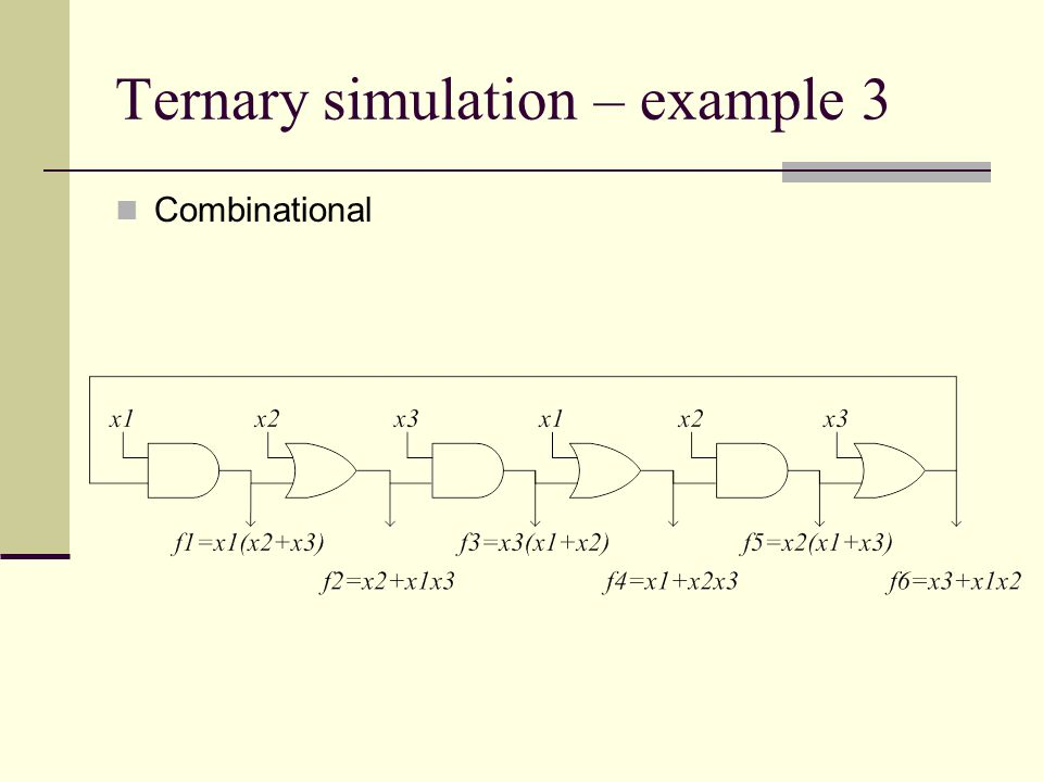 Ternary simulation – example 3 Combinational