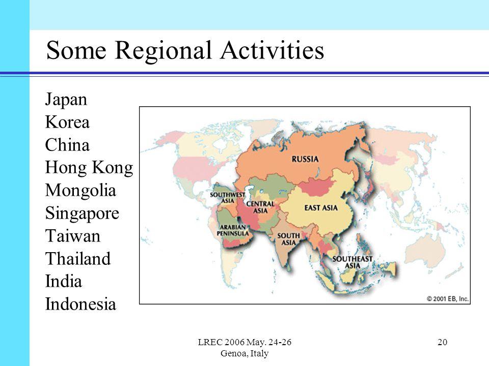 LREC 2006 May. 24-26 Genoa, Italy 20 Some Regional Activities Japan Korea China Hong Kong Mongolia Singapore Taiwan Thailand India Indonesia