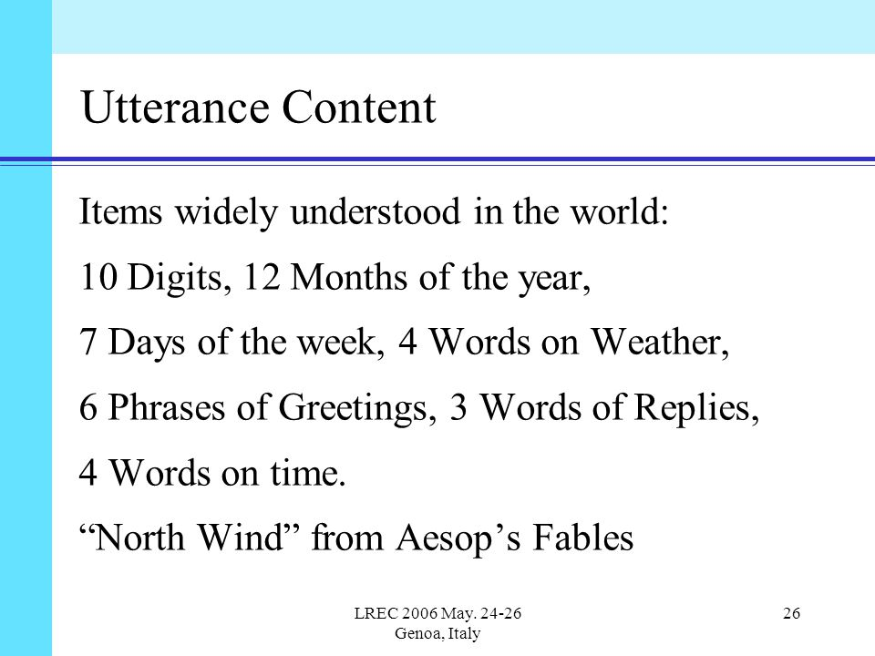 LREC 2006 May. 24-26 Genoa, Italy 26 Utterance Content Items widely understood in the world: 10 Digits, 12 Months of the year, 7 Days of the week, 4 W