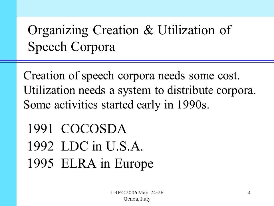 LREC 2006 May. 24-26 Genoa, Italy 4 Organizing Creation & Utilization of Speech Corpora Creation of speech corpora needs some cost. Utilization needs
