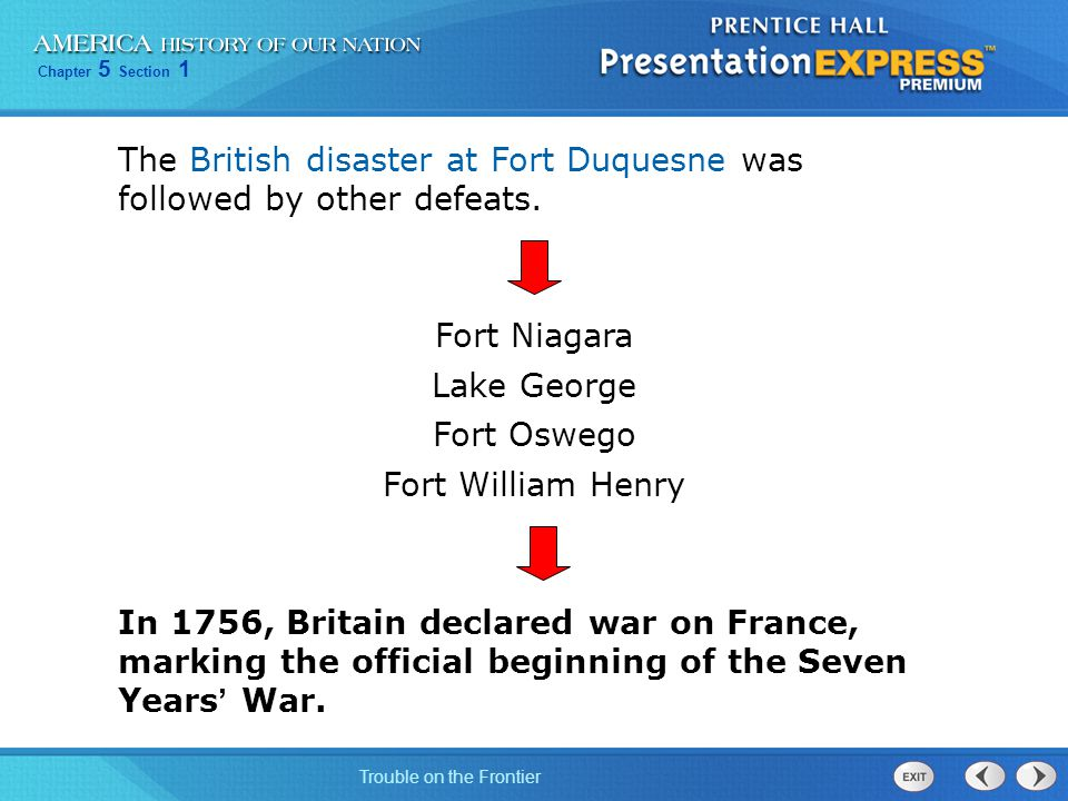 Chapter 5 Section 1 Trouble on the Frontier The British disaster at Fort Duquesne was followed by other defeats.