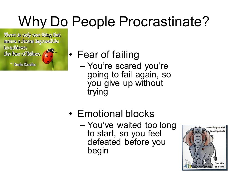 Why Do People Procrastinate? Fear of failing –You're scared you're going to fail again, so you give up without trying Emotional blocks –You've waited