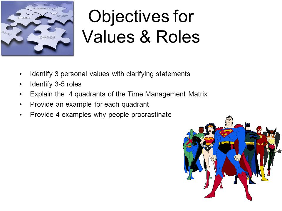 Objectives for Values & Roles Identify 3 personal values with clarifying statements Identify 3-5 roles Explain the 4 quadrants of the Time Management