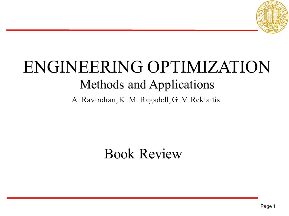 Page 1 Page 1 ENGINEERING OPTIMIZATION Methods and Applications A.