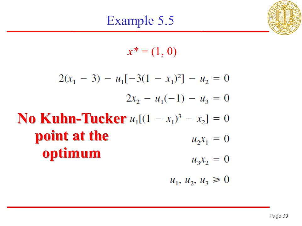 Page 39 Page 39 Example 5.5 x* = (1, 0) No Kuhn-Tucker point at the optimum