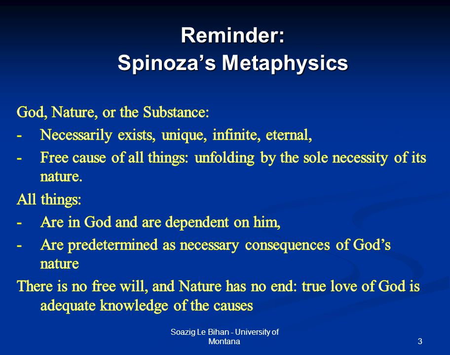 3Reminder: Spinoza's Metaphysics Soazig Le Bihan - University of Montana