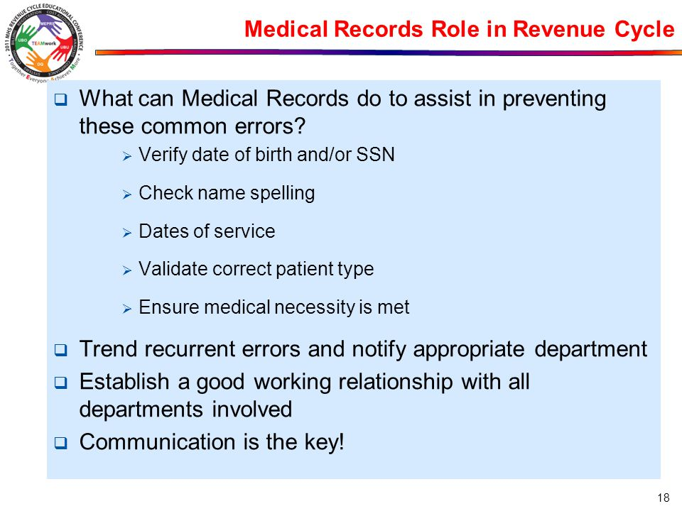 Medical Records Role in Revenue Cycle  What can Medical Records do to assist in preventing these common errors?  Verify date of birth and/or SSN  C