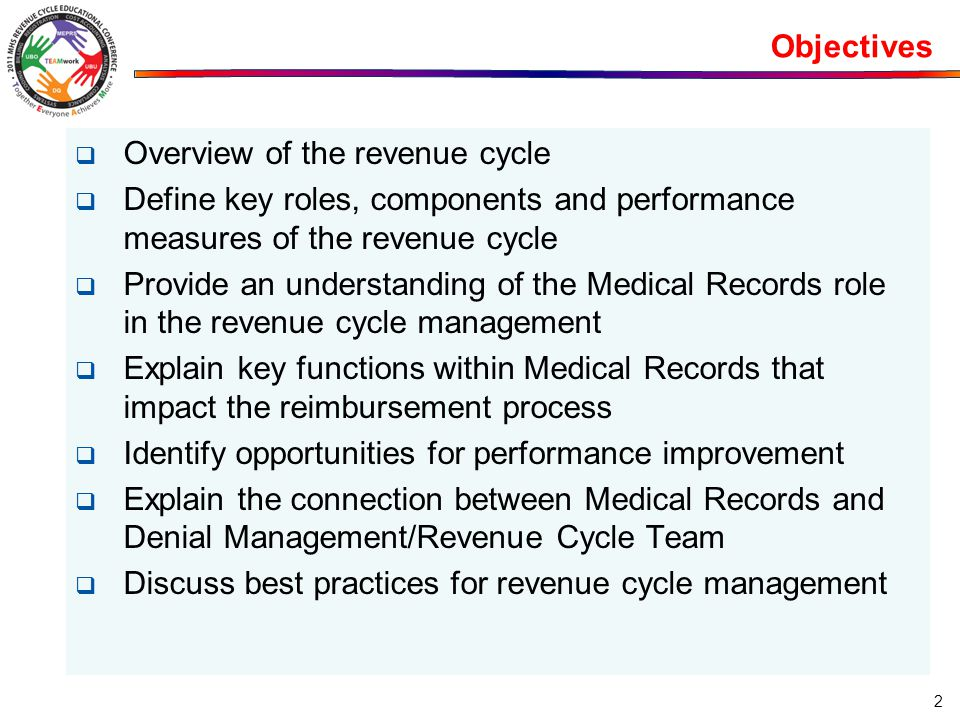Objectives  Overview of the revenue cycle  Define key roles, components and performance measures of the revenue cycle  Provide an understanding of