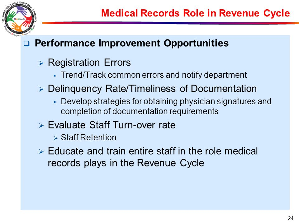 Medical Records Role in Revenue Cycle  Performance Improvement Opportunities  Registration Errors  Trend/Track common errors and notify department