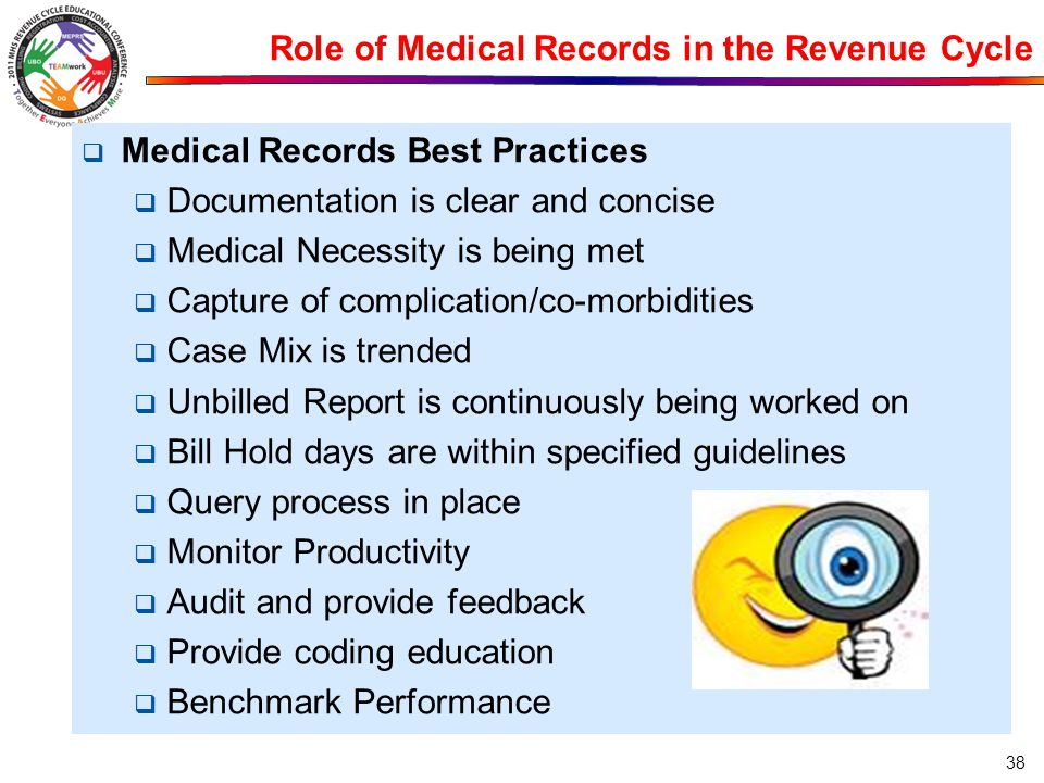 Role of Medical Records in the Revenue Cycle  Medical Records Best Practices  Documentation is clear and concise  Medical Necessity is being met 