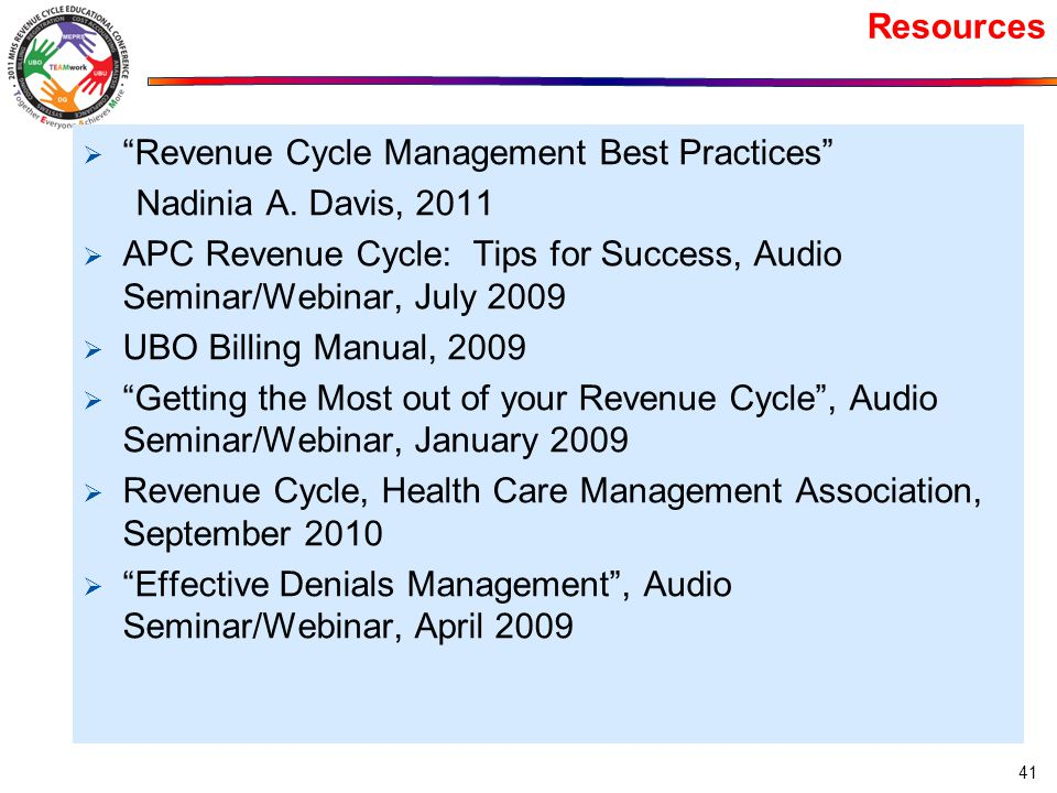 Resources  Revenue Cycle Management Best Practices Nadinia A.