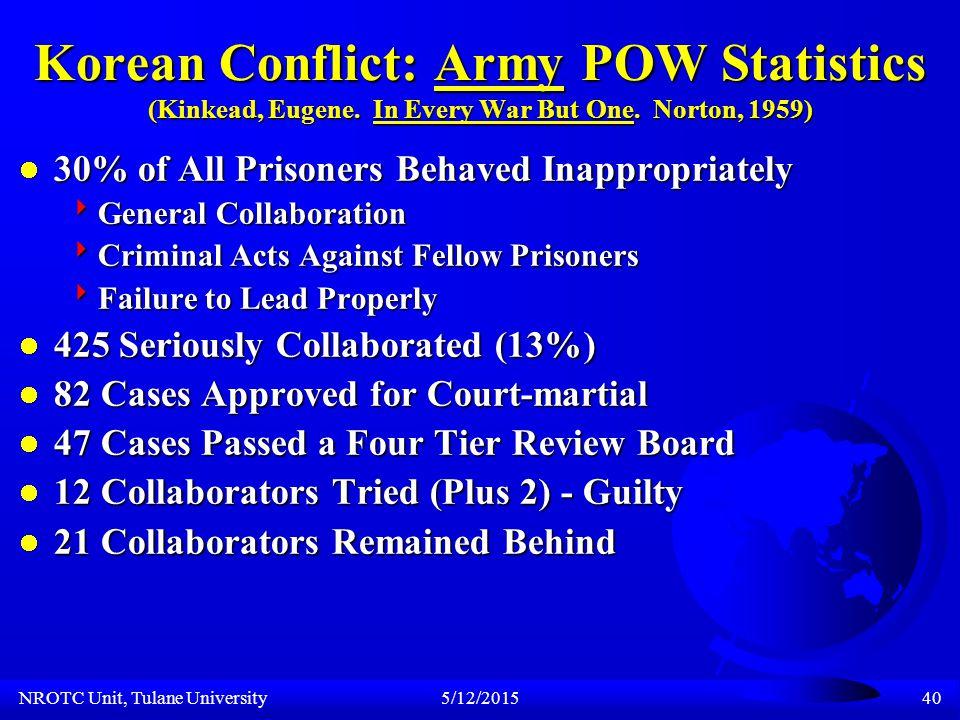 NROTC Unit, Tulane University5/12/201539 Korean Conflict: POW Statistics (Kinkead, Eugene.