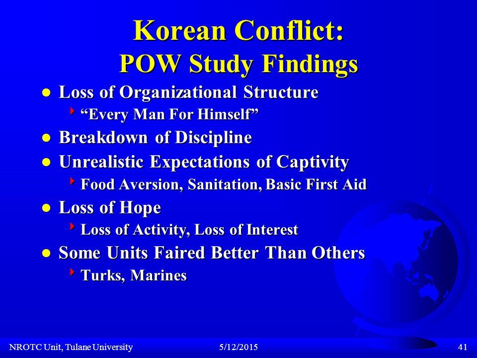NROTC Unit, Tulane University5/12/201540 Korean Conflict: Army POW Statistics (Kinkead, Eugene.