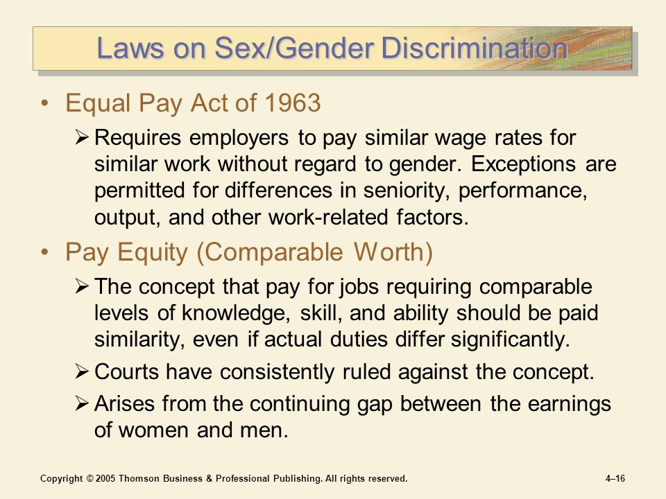 Copyright © 2005 Thomson Business & Professional Publishing. All rights reserved.4–16 Laws on Sex/Gender Discrimination Equal Pay Act of 1963  Requir