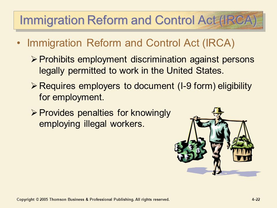 Copyright © 2005 Thomson Business & Professional Publishing. All rights reserved.4–22 Immigration Reform and Control Act (IRCA)  Prohibits employment