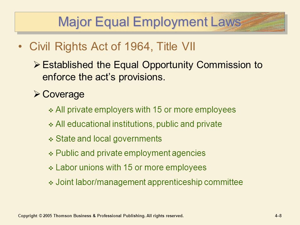 Copyright © 2005 Thomson Business & Professional Publishing. All rights reserved.4–84–8 Major Equal Employment Laws Civil Rights Act of 1964, Title VI